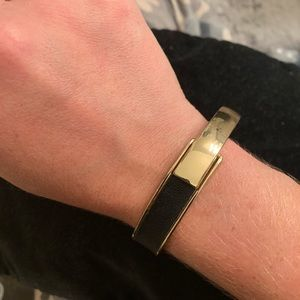 Black leather and gold cuff